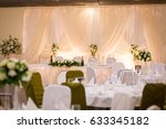 plate at the wedding table that ... | Shutterstock . vector #633345182