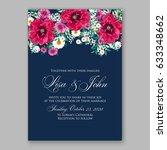 red poppy wedding invitation | Shutterstock .eps vector #633348662