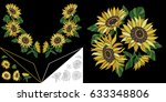 embroidery neckline design.... | Shutterstock .eps vector #633348806