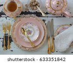 vintage pink china dinner