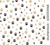 paw print seamless. traces of... | Shutterstock .eps vector #633353468