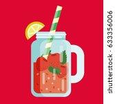 summer lemonade juice flat icon ... | Shutterstock .eps vector #633356006
