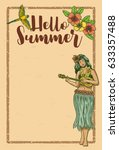 hello summer sign board  hula... | Shutterstock .eps vector #633357488