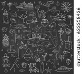 hand drawn doodle florida icons ... | Shutterstock .eps vector #633358436