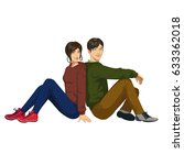 young guy and girl . pair of... | Shutterstock .eps vector #633362018