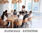 businesswoman stands to address ... | Shutterstock . vector #633365066