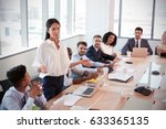 businesswoman stands to address ...   Shutterstock . vector #633365135