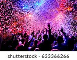 silhouettes of concert crowd in ... | Shutterstock . vector #633366266