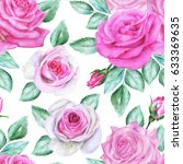 seamless floral pattern with... | Shutterstock . vector #633369635