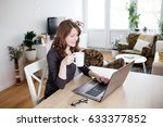 beautiful young woman working... | Shutterstock . vector #633377852
