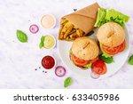 big sandwich   hamburger with... | Shutterstock . vector #633405986
