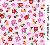 hula and hibiscus pattern  | Shutterstock .eps vector #633415016