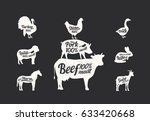 set of livestock. meat shop... | Shutterstock .eps vector #633420668
