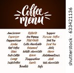 coffee menu. hand lettering... | Shutterstock .eps vector #633421136