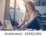 young business woman working on ... | Shutterstock . vector #633421406