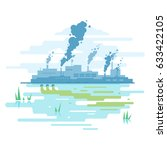 industrial pollution of nature | Shutterstock .eps vector #633422105