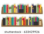 flat bookshelf. vector... | Shutterstock .eps vector #633429926