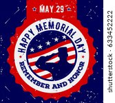 happy memorial day. vintage... | Shutterstock .eps vector #633452222