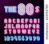 eighties style retro font. 80's ... | Shutterstock .eps vector #633453785