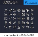 35 hand drawn financial icon.... | Shutterstock .eps vector #633454202