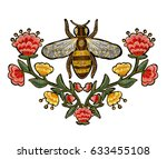 bee and flowers embroidery.... | Shutterstock .eps vector #633455108