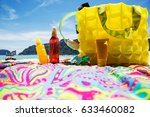 lifestyle image of beach bag ... | Shutterstock . vector #633460082
