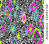 neon tribal ikat shapes over... | Shutterstock .eps vector #633461768