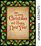 christmas and new year greeting ... | Shutterstock .eps vector #63346372