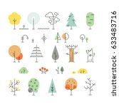 Forest Trees Line Icons With...