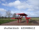 Small photo of seat, red, bench, table, rest, resting