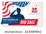 happy memorial day sale banner. ... | Shutterstock .eps vector #633489842