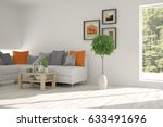white room with sofa and green... | Shutterstock . vector #633491696