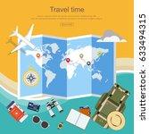 flat design  travel planner ... | Shutterstock .eps vector #633494315