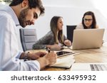 group of young business people... | Shutterstock . vector #633495932