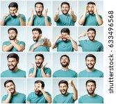 set of young man's portraits... | Shutterstock . vector #633496568
