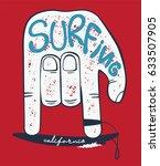 rock hand sign on surfboard... | Shutterstock .eps vector #633507905