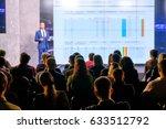 audience listens to the speech... | Shutterstock . vector #633512792