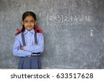 a rural school girl   | Shutterstock . vector #633517628