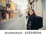 young curious woman travelling... | Shutterstock . vector #633548546