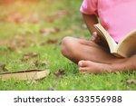 little boy read a book under... | Shutterstock . vector #633556988