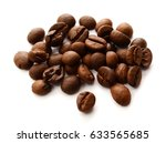 coffee beans isolated on white...   Shutterstock . vector #633565685