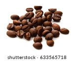 coffee beans on white background   Shutterstock . vector #633565718