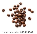 coffee beans isolated on white... | Shutterstock . vector #633565862