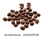 oasted coffee beans on white... | Shutterstock . vector #633565928