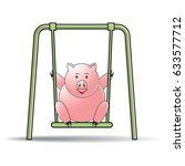 color cartoon pig swing with... | Shutterstock .eps vector #633577712