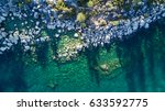 Aerial View of Lake Tahoe Shore - stock photo