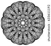 hand drawn monochrome oriental... | Shutterstock .eps vector #633611192