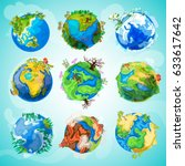 colorful earth planet... | Shutterstock .eps vector #633617642