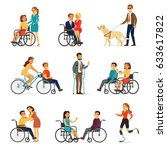 disabled and handicapped set... | Shutterstock .eps vector #633617822