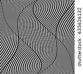 op art wavy lines pattern.... | Shutterstock .eps vector #633626132